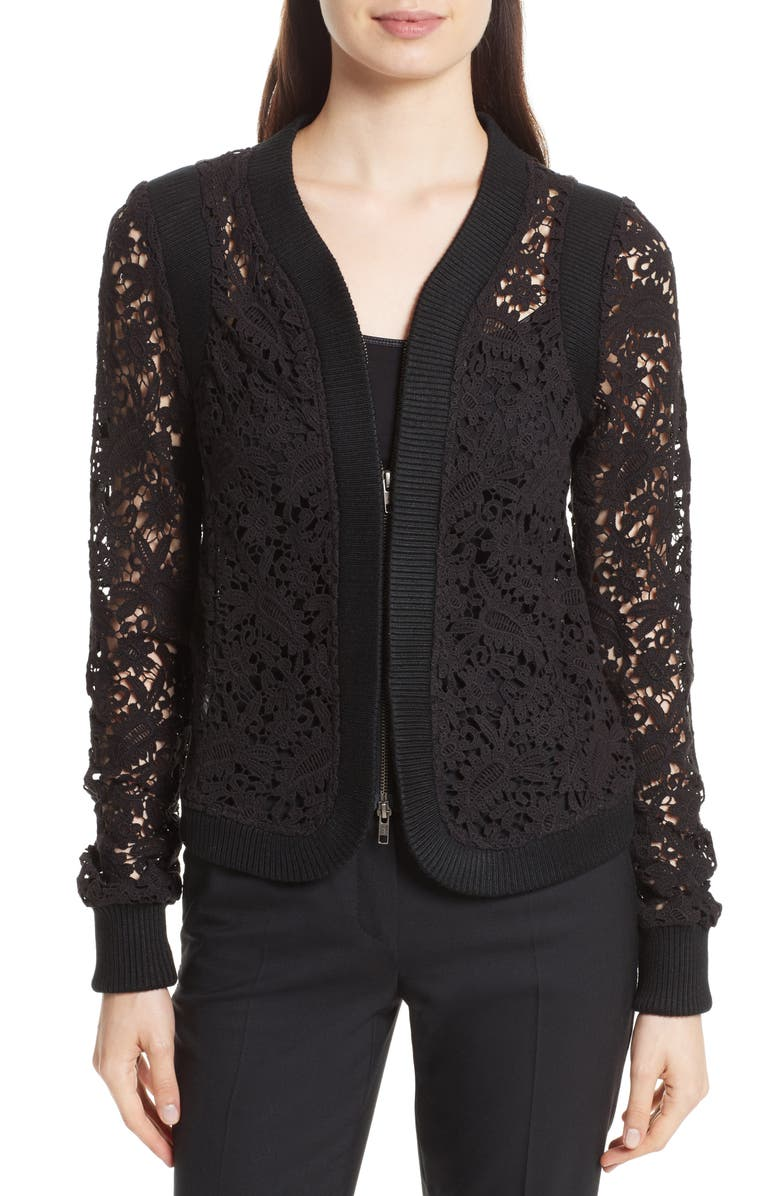 TRACY REESE Lace Zip Cardigan, Main, color, 001