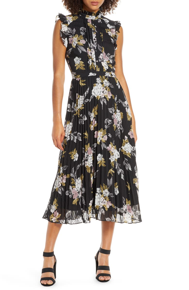 CHELSEA28 Floral Print Pleated Dress, Main, color, 001