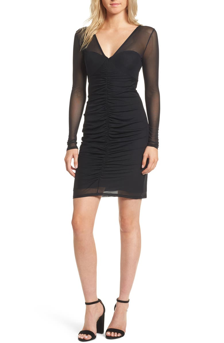 TROUVÉ Body-Con Sheath Dress, Main, color, 001