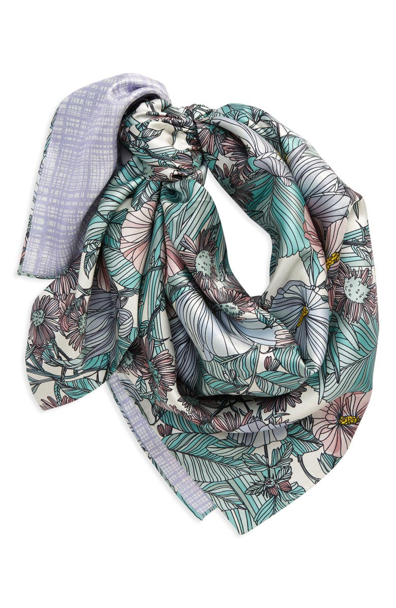 TORY BURCH Hibiscus Reversible Print Silk Square Scarf, Main, color, WHITE LAVENDER