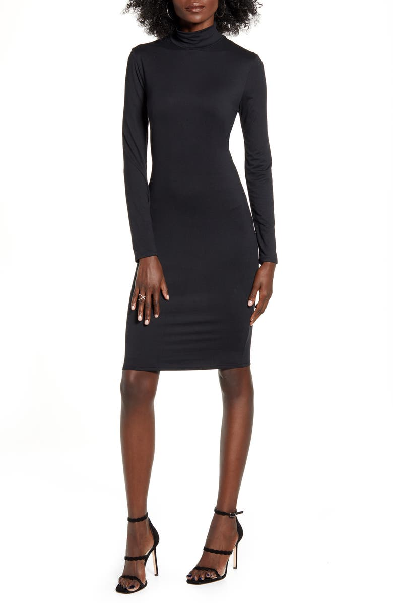 LEITH Long Sleeve Body-Con Dress, Main, color, 001