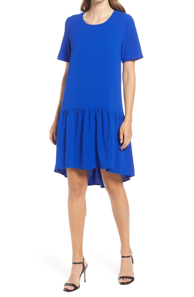 CHARLES HENRY High/Low Knit Dress, Main, color, ROYAL