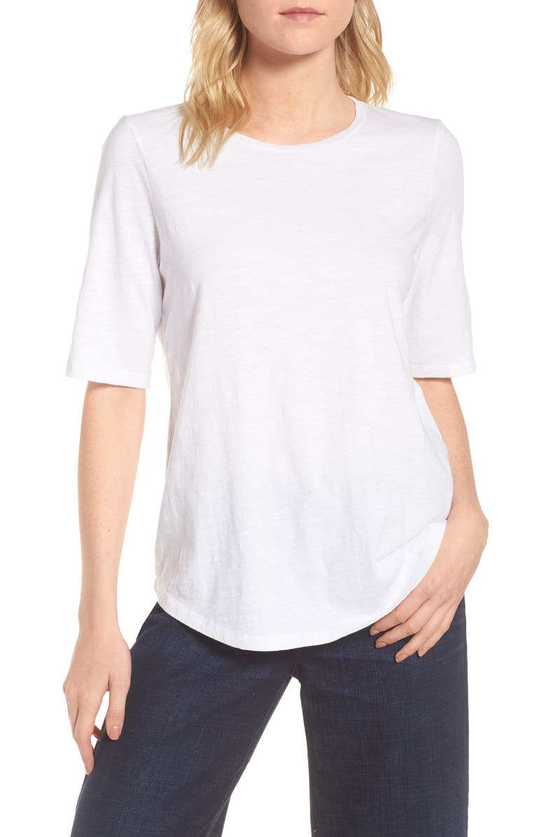 EILEEN FISHER Elbow Sleeve Tee, Main, color, WHITE