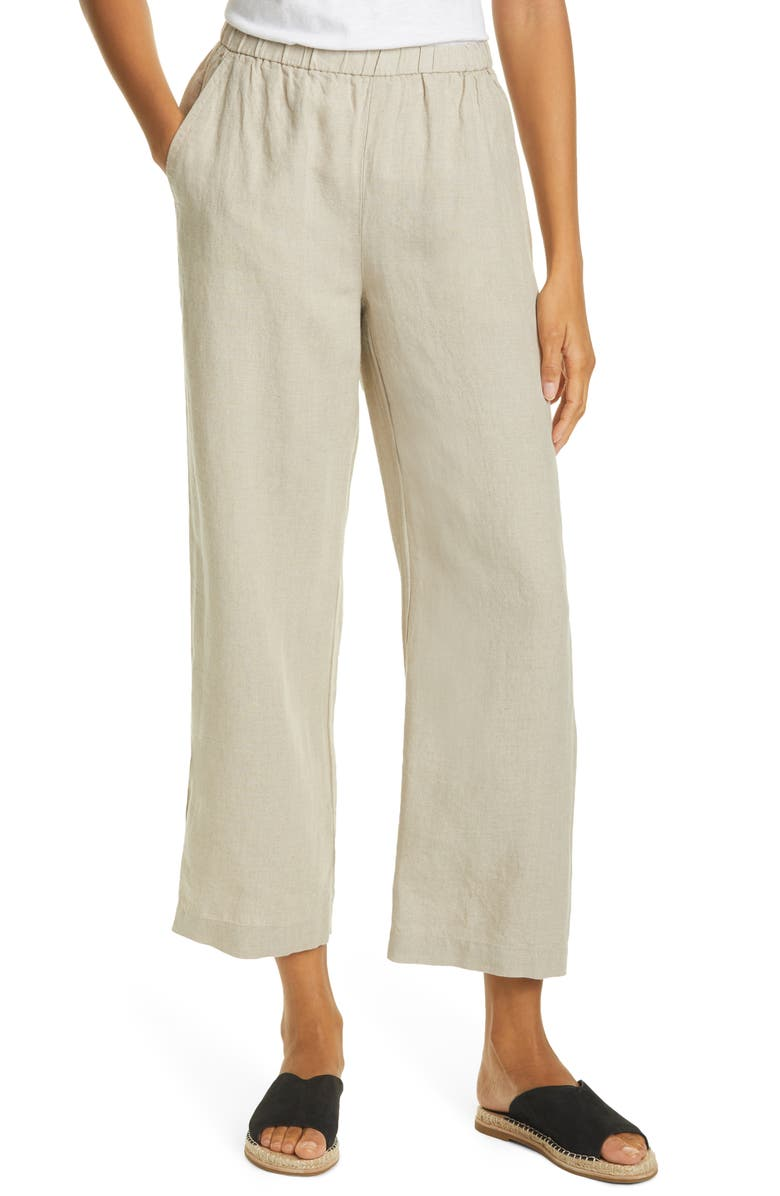 EILEEN FISHER Straight Leg Organic Linen Ankle Pants, Main, color, UNNATURAL