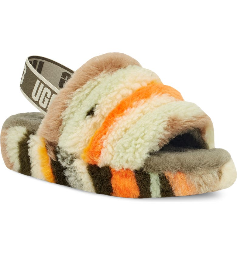 UGG<SUP>®</SUP> Fluff Yeah Faux Shearling Slipper, Main, color, OLIVE CALI COLLAGE
