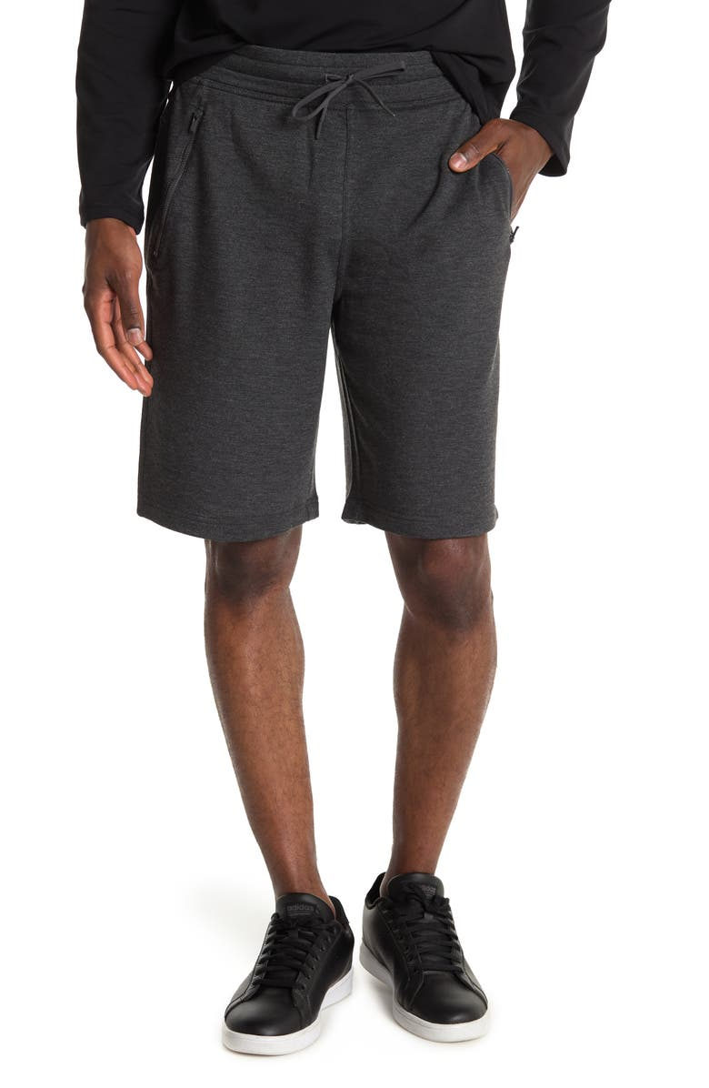90 DEGREE BY REFLEX Terry Zip Pocket Shorts, Main, color, HTR.CHARCOAL