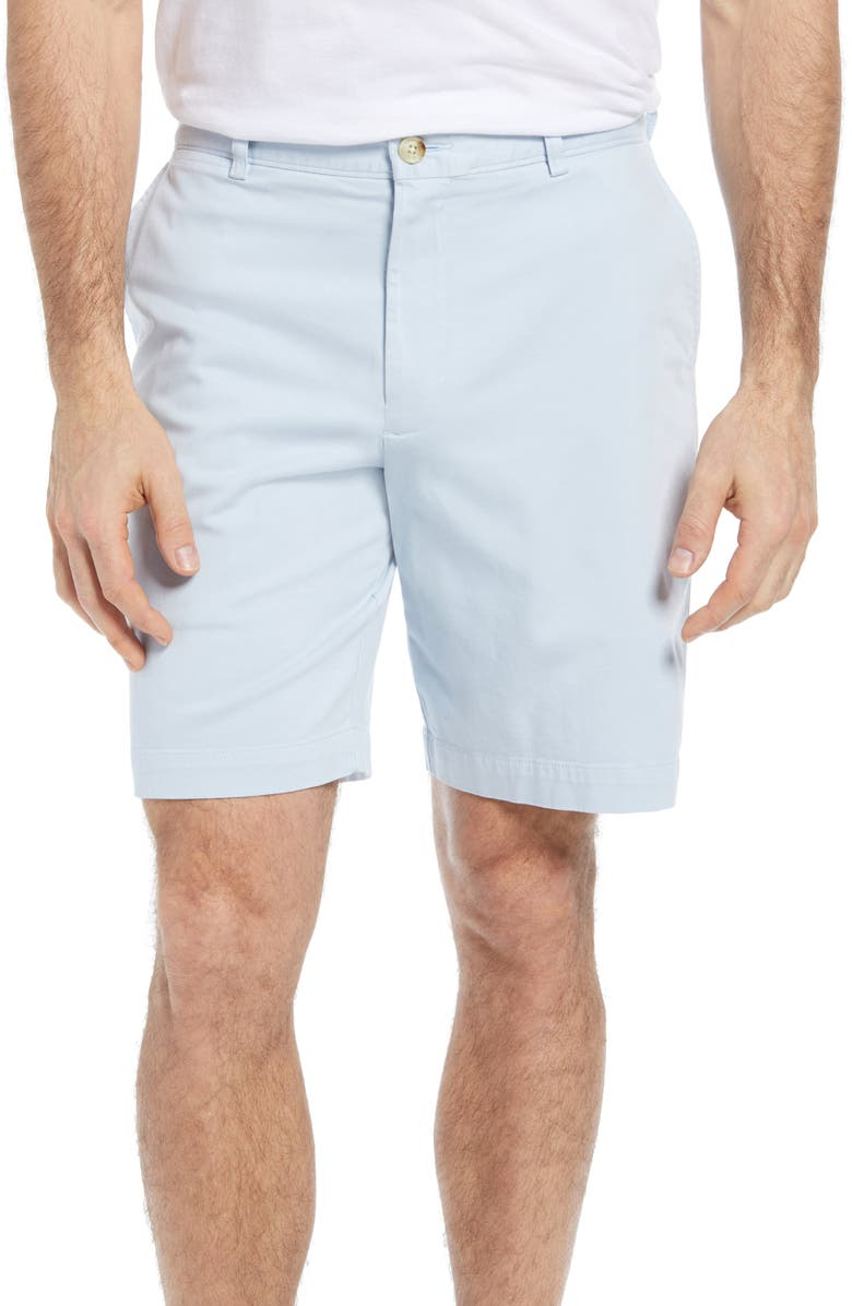 JOHNSTON & MURPHY Washed Chino Shorts, Main, color, LIGHT BLUE