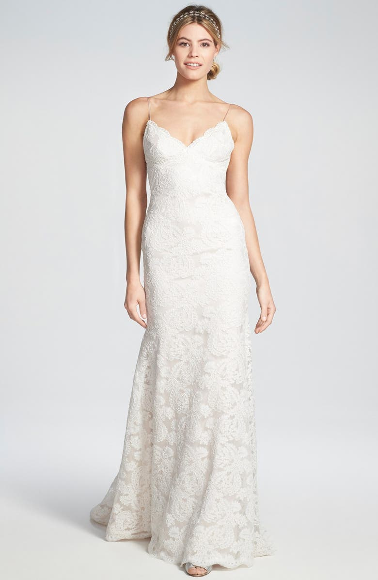 KATIE MAY 'Lanai' Convertible Cap Sleeve Lace Low Back Gown, Main, color, BLUSH