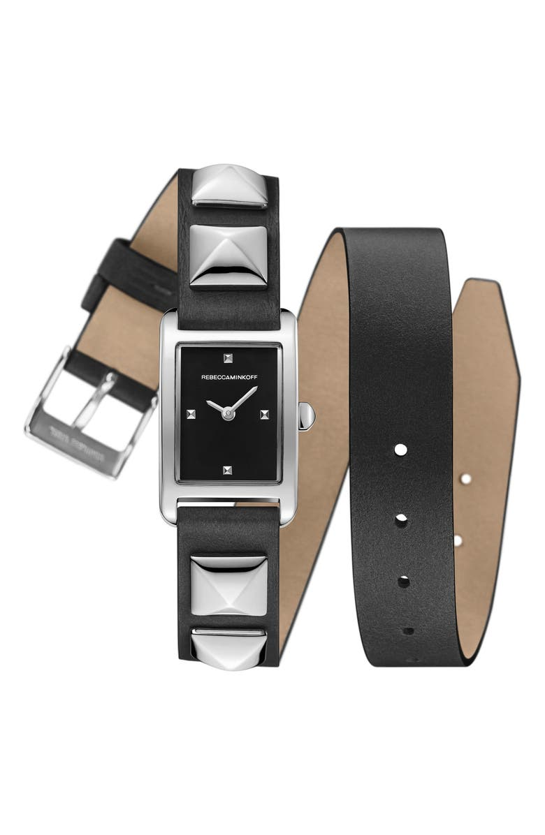 REBECCA MINKOFF Wrap Leather Strap Watch, 19mm x 30mm, Main, color, 001