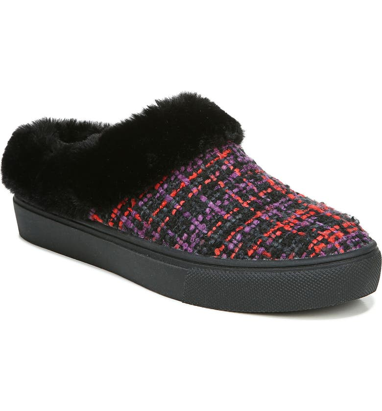 DR. SCHOLL'S Now Chill Faux Fur Slipper, Main, color, BLACK FABRIC