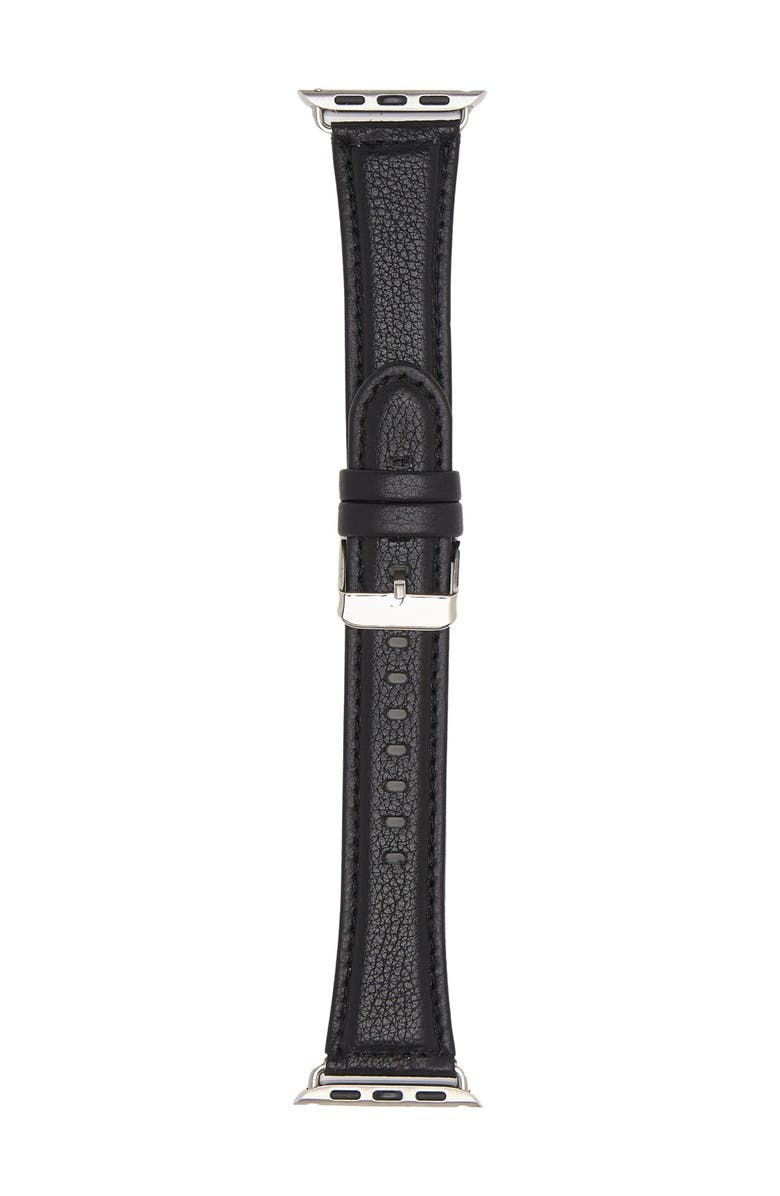 SARINA Women's Interchangeable Leather Watch Strap, 168mm x 32mm, Main, color, BLACK