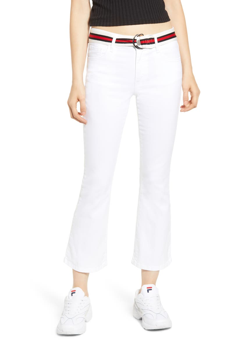 PROSPERITY DENIM Belted Crop Flare Jeans, Main, color, WHITE