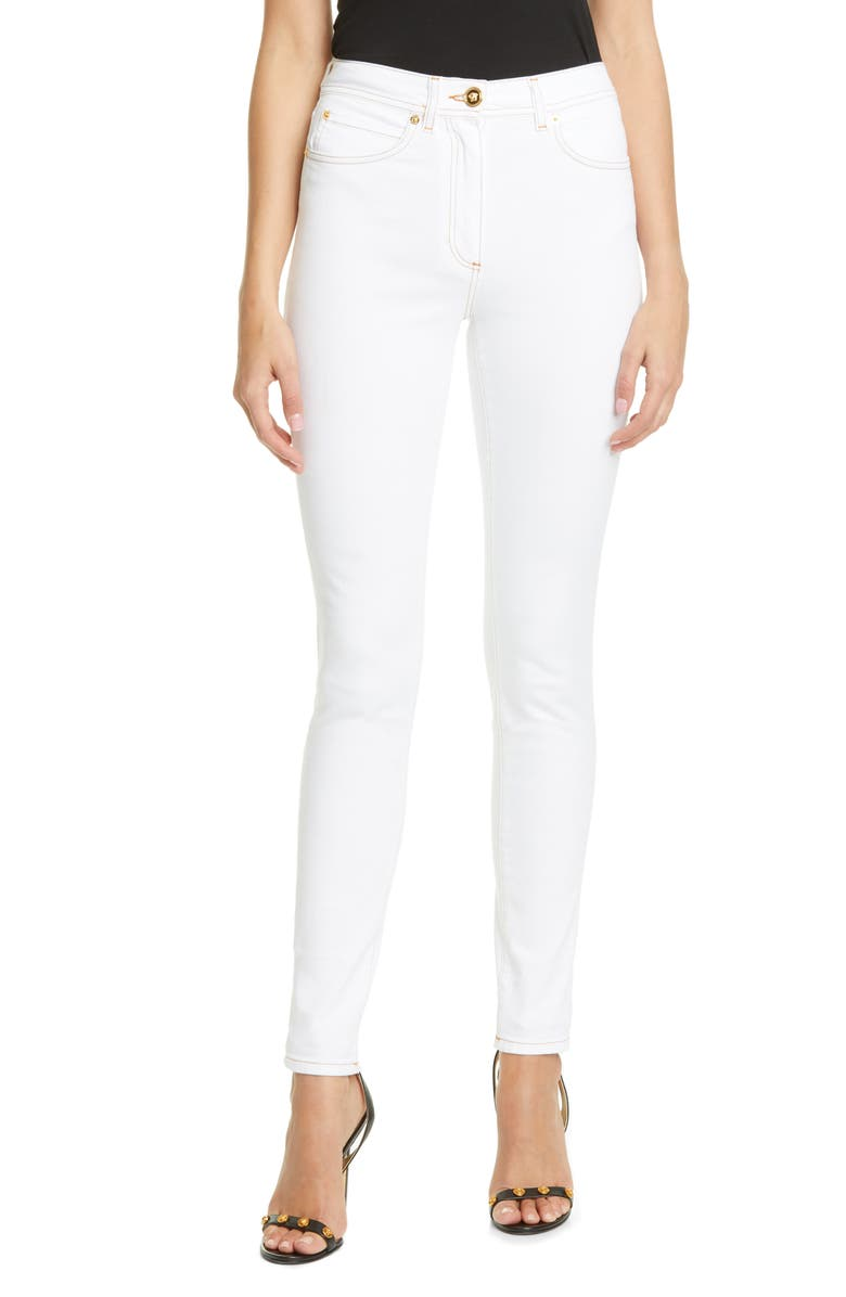 VERSACE Medusa Button High Waist Skinny Jeans, Main, color, 100