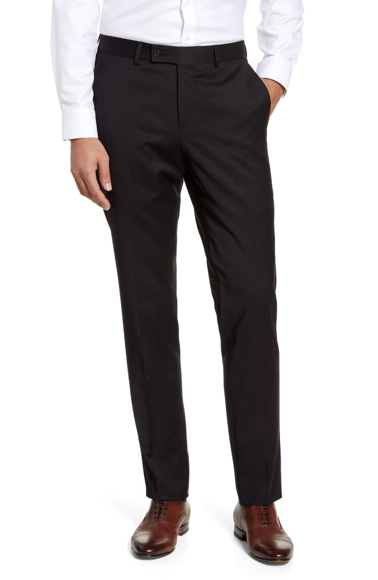 NORDSTROM Trim Fit Wool Blend Trousers, Main, color, BLACK CAVIAR