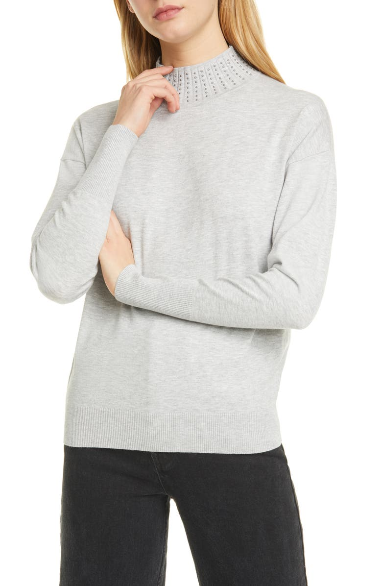 TED BAKER LONDON Ysiee Embellished Funnel Neck Sweater, Main, color, 030