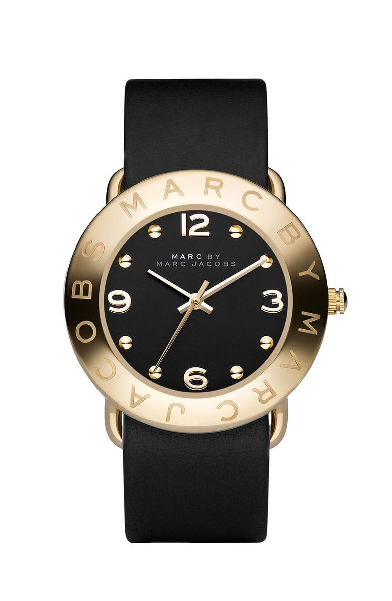 MARC JACOBS 'Amy' Leather Strap Watch, 36mm, Main, color, 001
