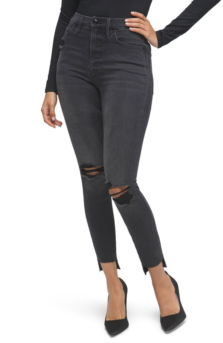 GOOD AMERICAN Good High Waist Crop Skinny Jeans, Main, color, BLACK127