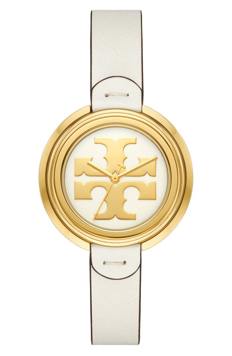 TORY BURCH The Miller Leather Strap Watch, 36mm, Main, color, WHITE/ CREAM/ GOLD