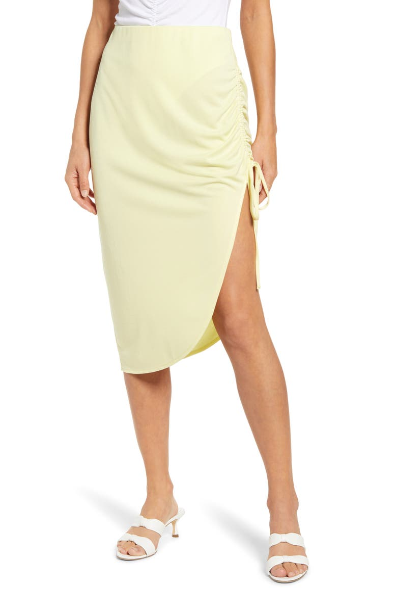 OPEN EDIT Side Ruched Skirt, Main, color, YELLOW LEMONADE