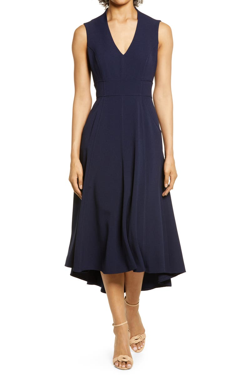 ELIZA J High/Low Fit & Flare Dress, Main, color, NAVY/NAVY
