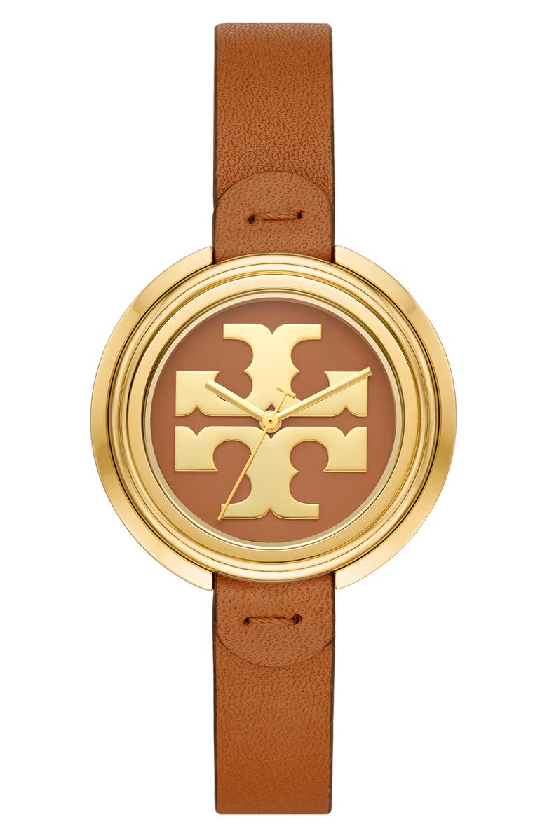 TORY BURCH The Miller Leather Strap Watch, 36mm, Main, color, BROWN/ GOLD
