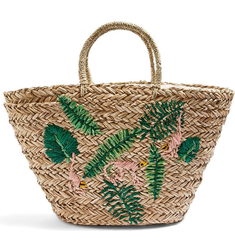TOPSHOP Barrio Monkey Embroidered Straw Tote Bag, Main, color, 250
