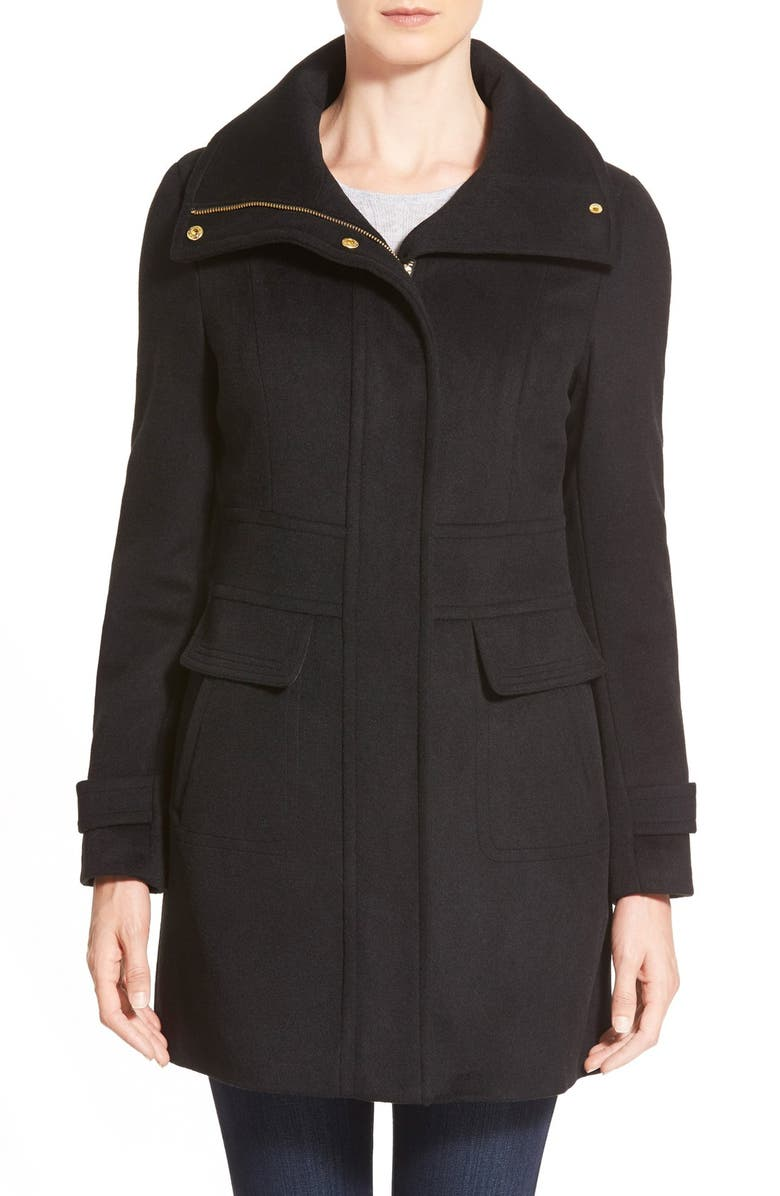 COLE HAAN SIGNATURE Cole HaanSignature Stand Collar Wool Blend Coat, Main, color, 001
