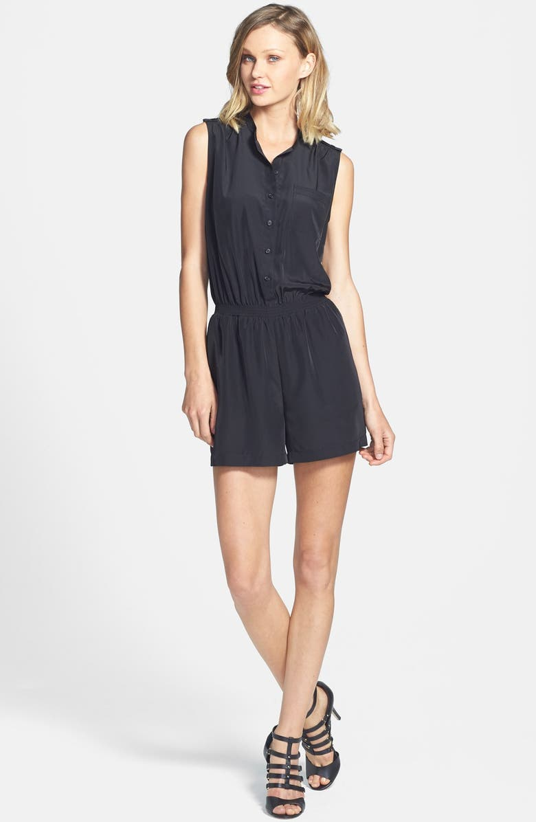 HALOGEN<SUP>®</SUP> Sleeveless Front Button Romper, Main, color, 001