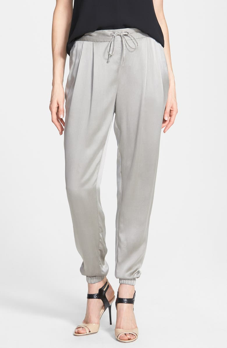 EILEEN FISHER Silk Charmeuse Drawstring Ankle Pants, Main, color, STONE