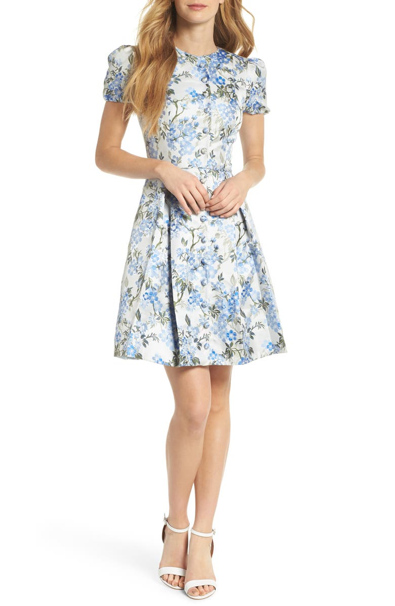 GAL MEETS GLAM COLLECTION Margaret Poppy Jacquard Fit & Flare Dress, Main, color, BLUE BELL COMBO