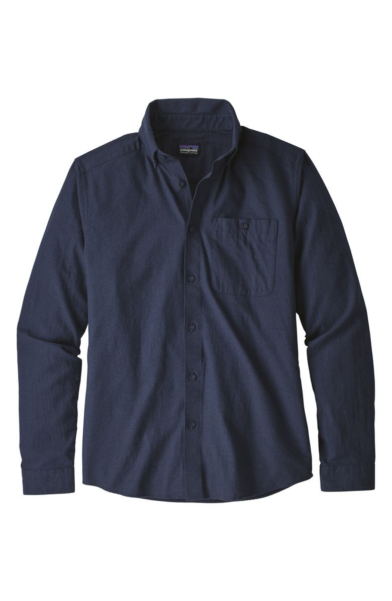 PATAGONIA Vjosa River Pima Cotton Button-Down Shirt, Main, color, CLASSIC NAVY
