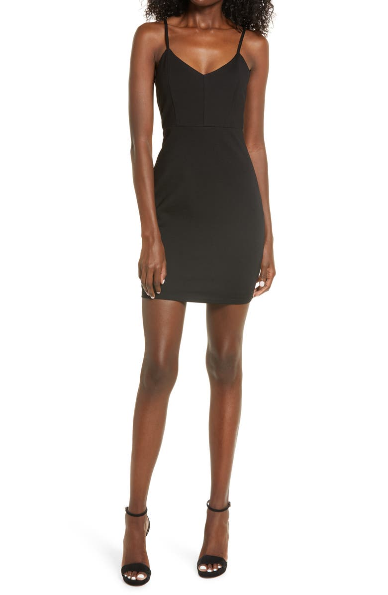 LULUS Cocktail Queen Fitted Minidress, Main, color, BLACK