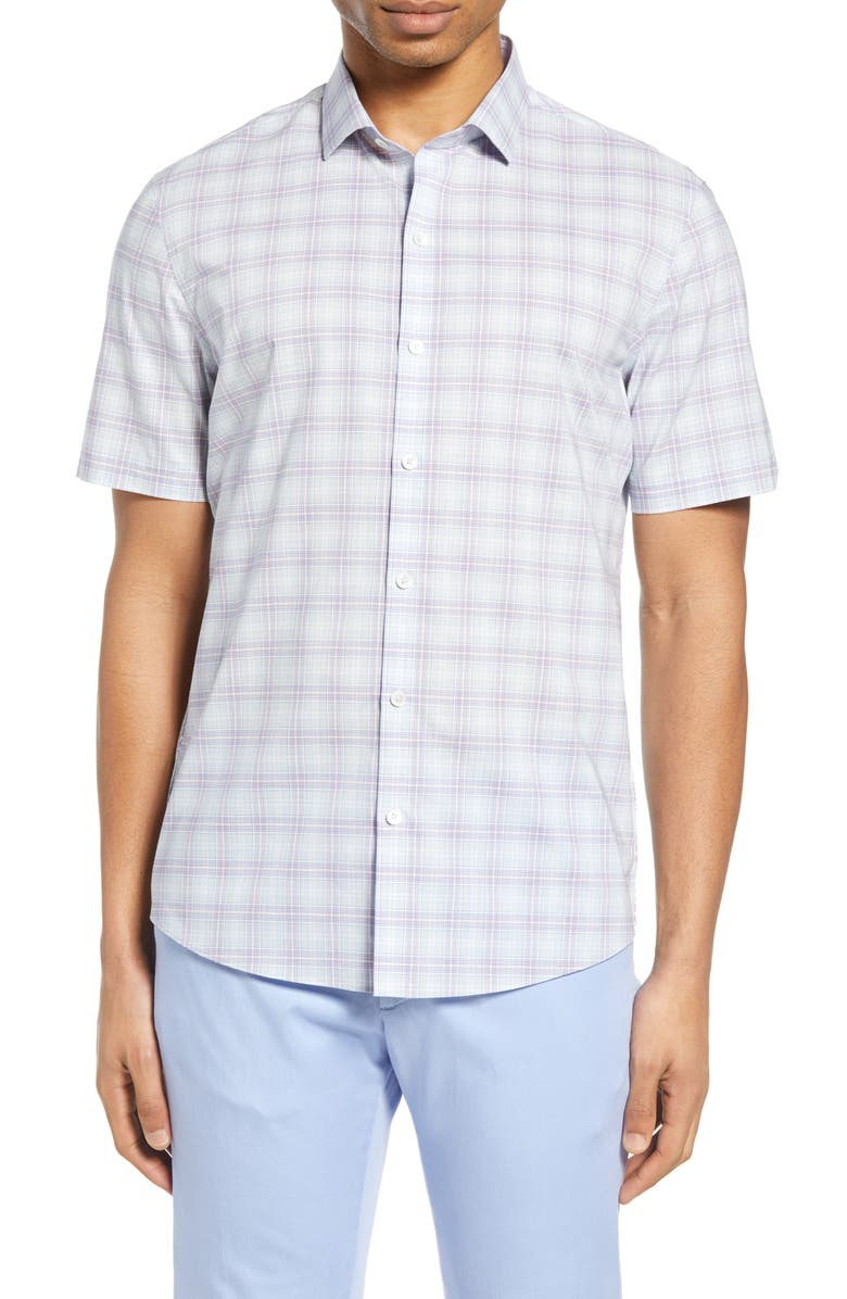 ZACHARY PRELL Laube Classic Fit Check Short Sleeve Button-Down Shirt, Main, color, 530