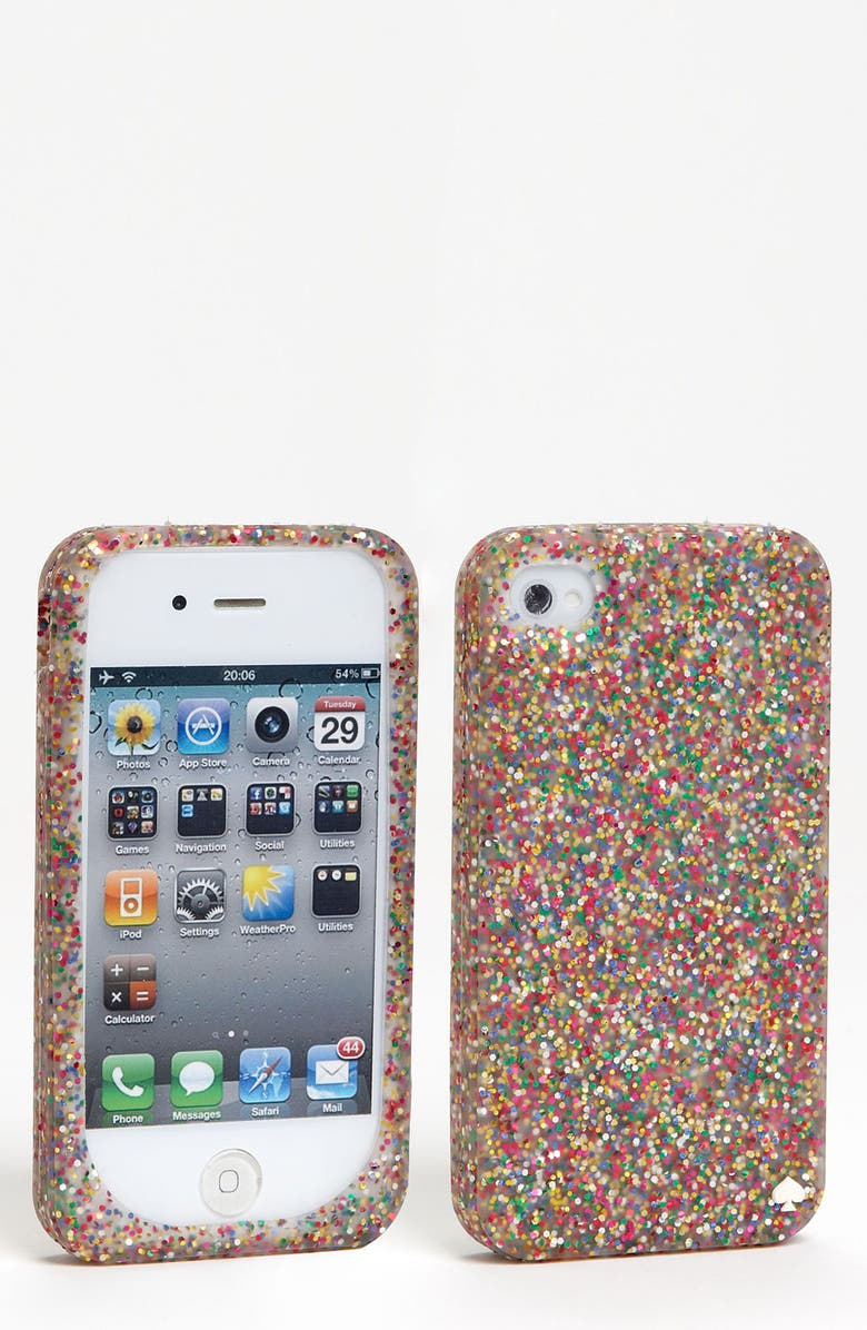 KATE SPADE NEW YORK glitter silicone iPhone 4 & 4s case, Main, color, 650