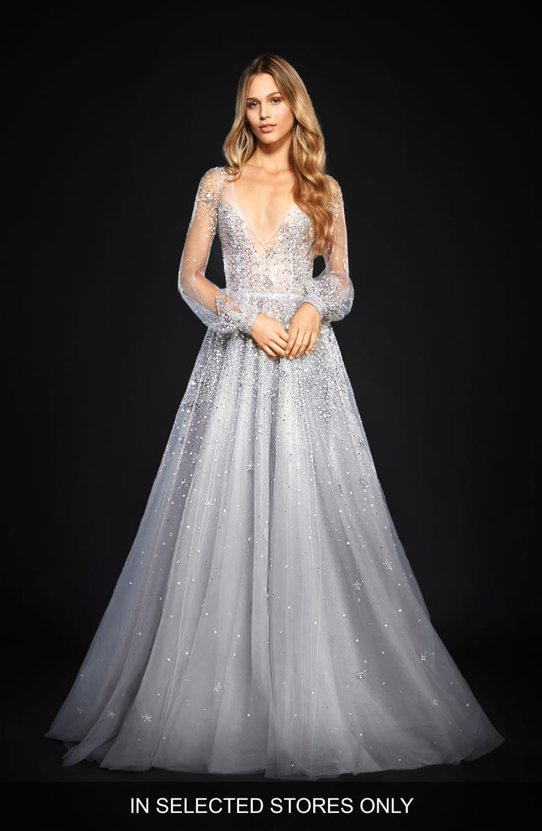 HAYLEY PAIGE Lumi Embellished Long Sleeve Tulle Ballgown, Main, color, 400