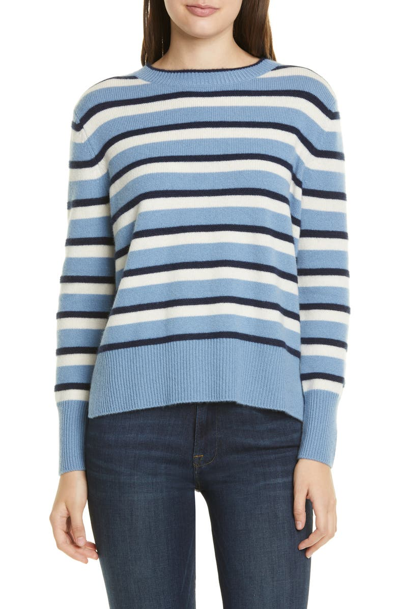 NORDSTROM SIGNATURE Stripe Cashmere High/Low Sweater, Main, color, 420