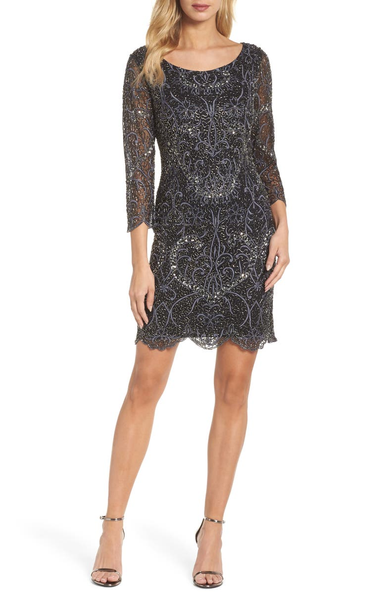 PISARRO NIGHTS Embroidered Cocktail Dress, Main, color, 001