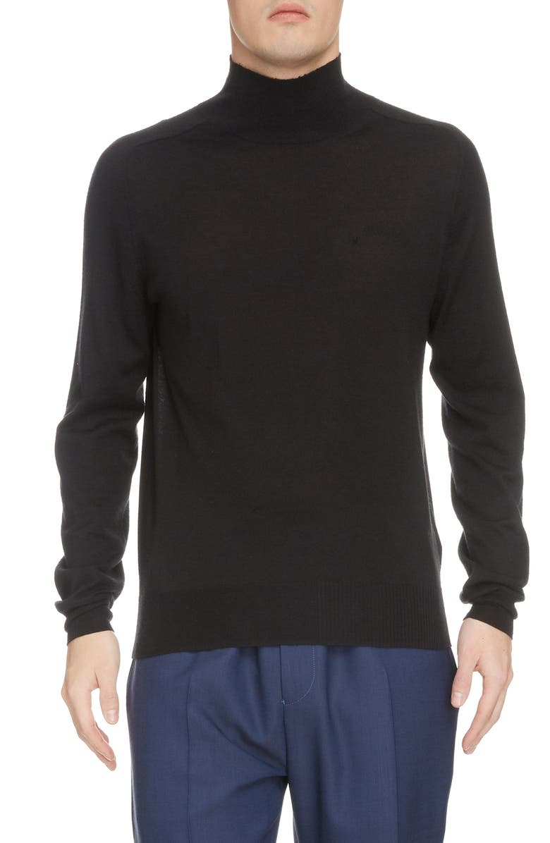 GIVENCHY Wool, Silk & Cashmere Mock Neck Sweater, Main, color, Black