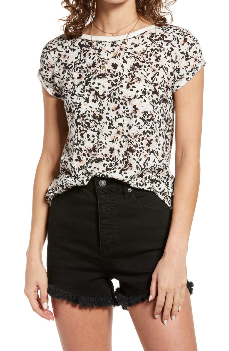 FREE PEOPLE Camo Clare Tee, Main, color, WILD THING