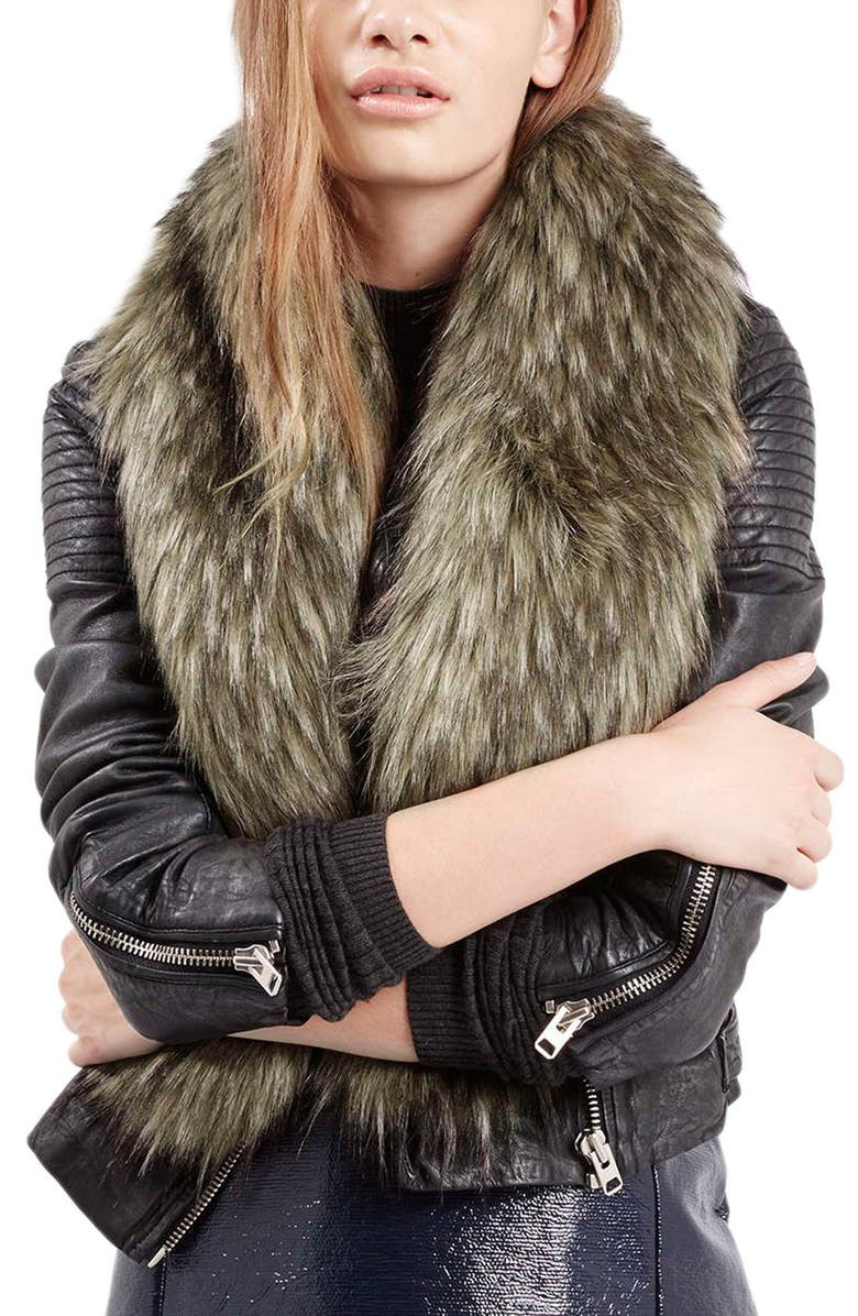 TOPSHOP Faux Coyote Fur Stole, Main, color, 200