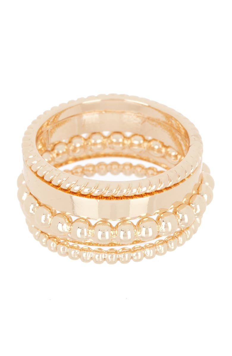 HALOGEN Mixed Texture Metal Ring Stack, Main, color, GOLD