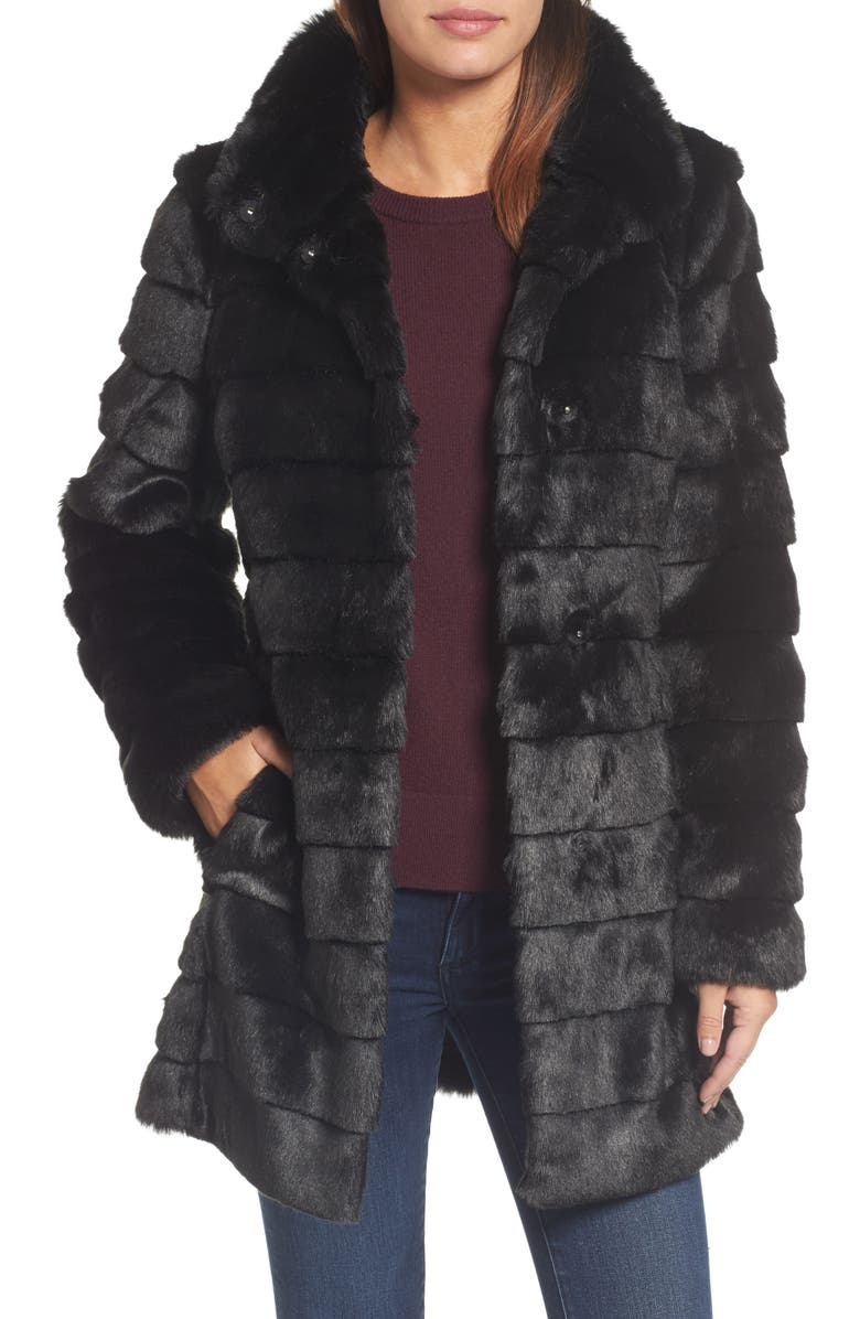 ELIZA J Grooved Faux Fur Coat, Main, color, 001