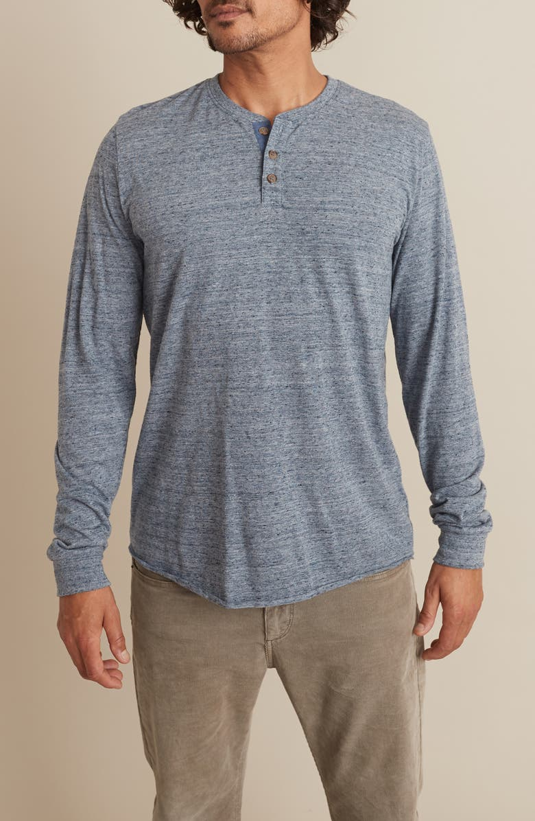 MARINE LAYER Cotton Blend Long Sleeve Henley, Main, color, DENIM HEATHER NEPS CORE
