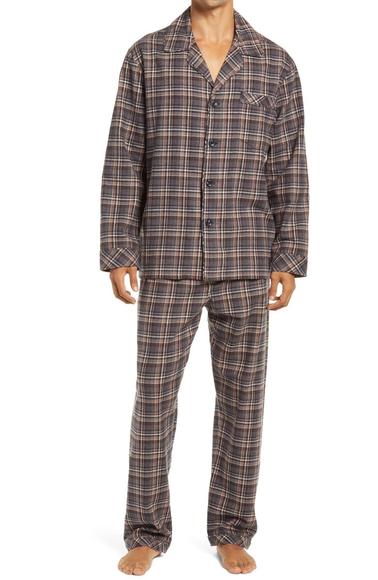 MAJESTIC INTERNATIONAL Flannel Pajamas, Main, color, CHESTNUT PLAID