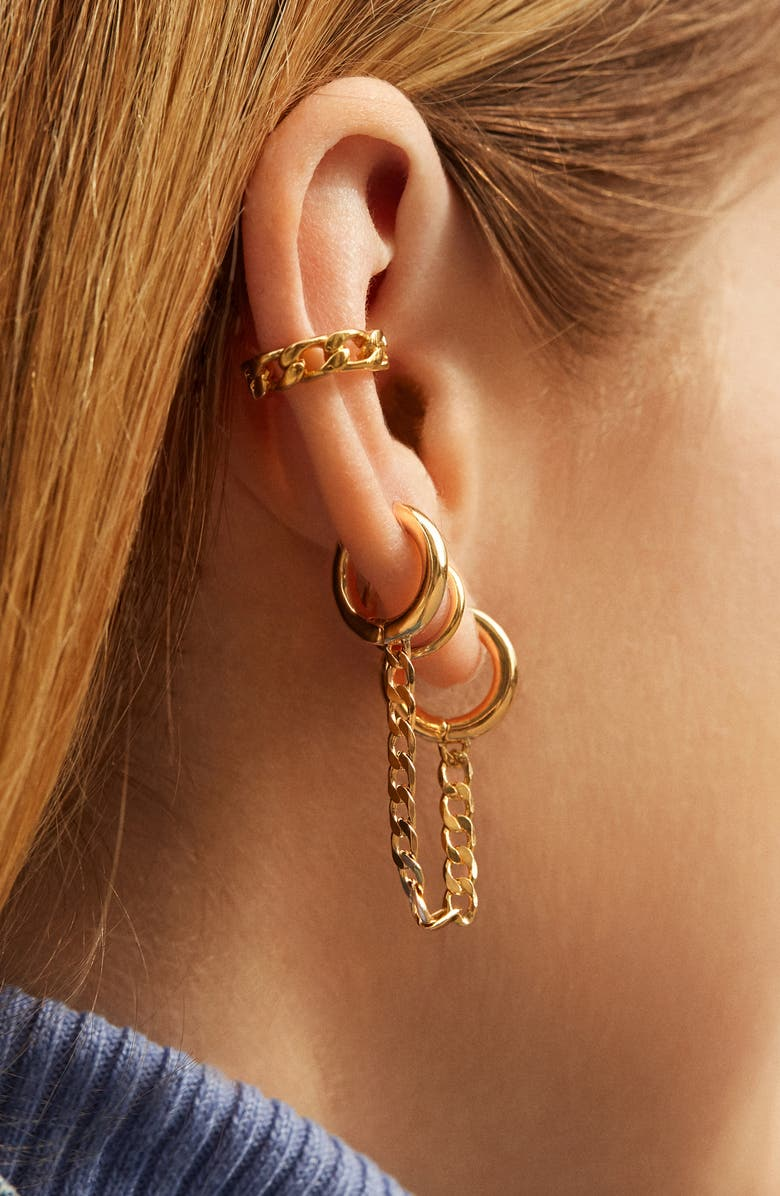 BAUBLEBAR Double Huggie Chain Earring, Main, color, GOLD