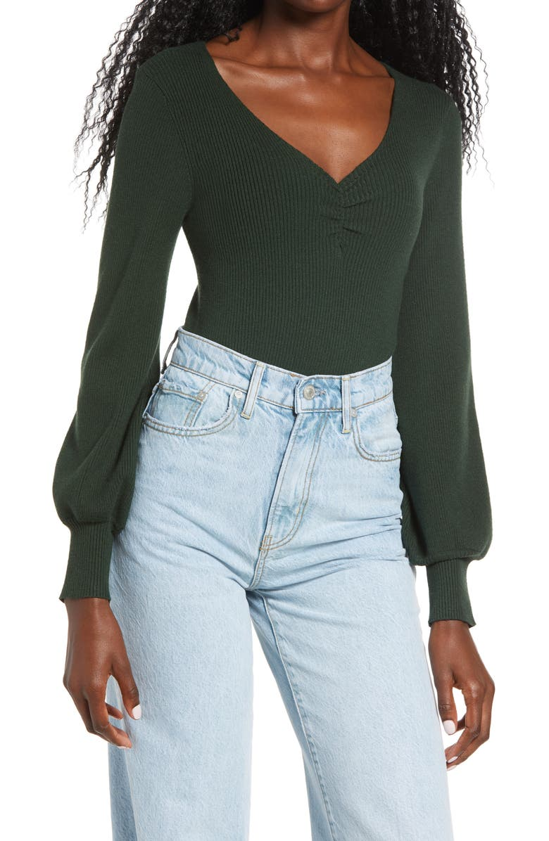 ALL IN FAVOR Rib V-Neck Gather Pullover, Main, color, FOREST GREEN