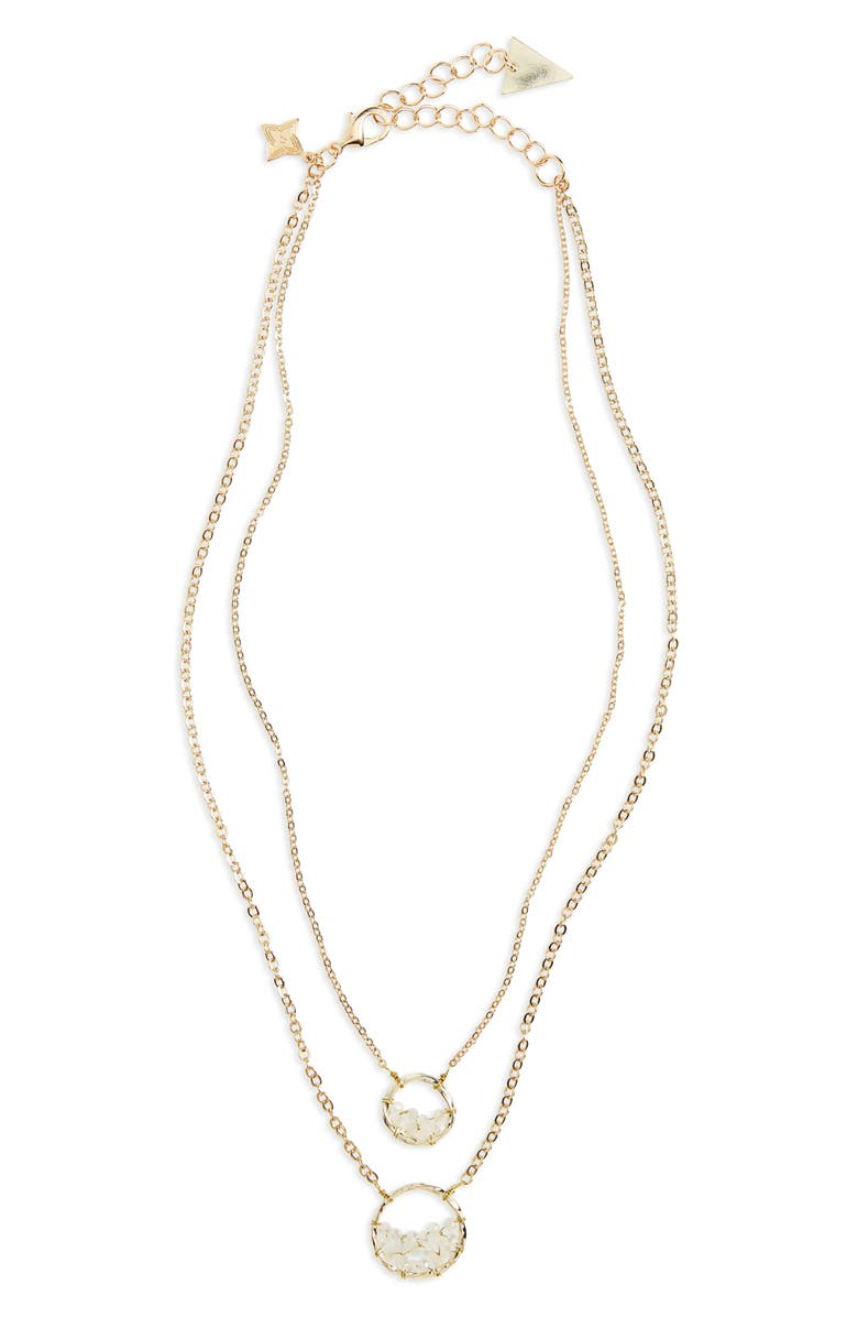 PANACEA Crystal Circle Double Chain Necklace, Main, color, White