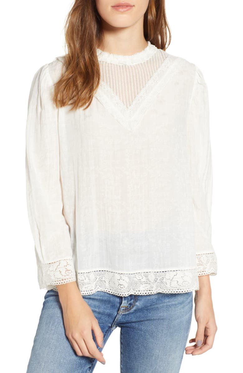 HINGE Lace Detail High Neck Top, Main, color, 100