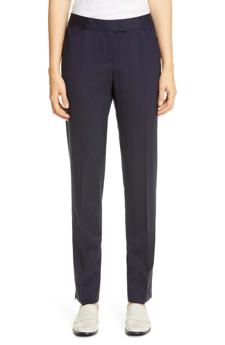 LAFAYETTE 148 NEW YORK Irving Skinny Stretch Wool Pants, Main, color, INK