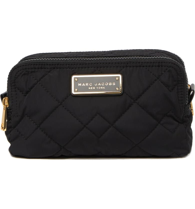 MARC JACOBS Quilted Double Zip Cosmetics Bag, Main, color, BLACK